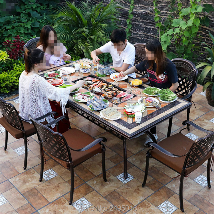 Baking Restaurant Grill Ceramic Tile Top Cast Aluminium BBQ Table Rectangle 188x98x75cm For Garden Without Chairs
