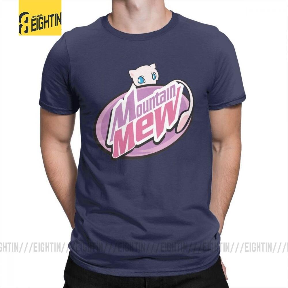 Pokemon Mountain Mew Man's T Shirts Vintage Purified Cotton Short Sleeves Tees O Neck T-Shirts Large Size Tops