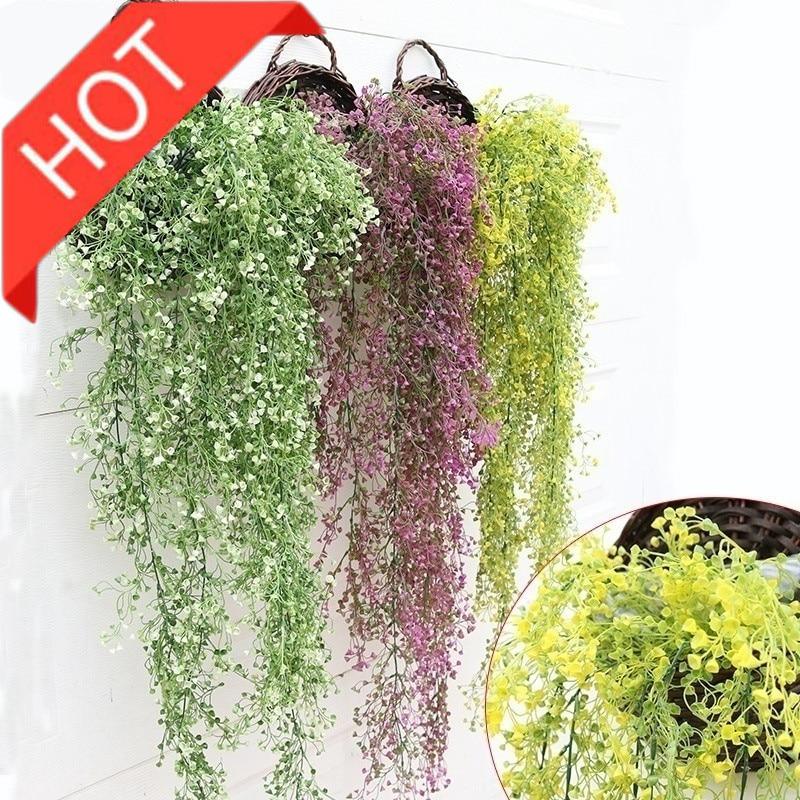 Hacer Dropshipping granja decoración del hogar rosas de seda falso Creeper plantas verdes hojas de hiedra Artificial guirnalda flor vid fiesta