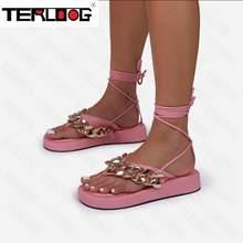 Hidden-Gems Chain Thong Detail Lace Up Platform Gladiator Sandal In Pink fashion 2021 Flats Slippers Women Sandals Flip Flops