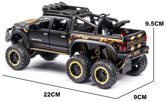 New 1:32 Ford Raptor F150 Big Wheel Alloy Diecast Car Model With With Sound Light Pull Back Car Toys For Children Xmas Gifts 6