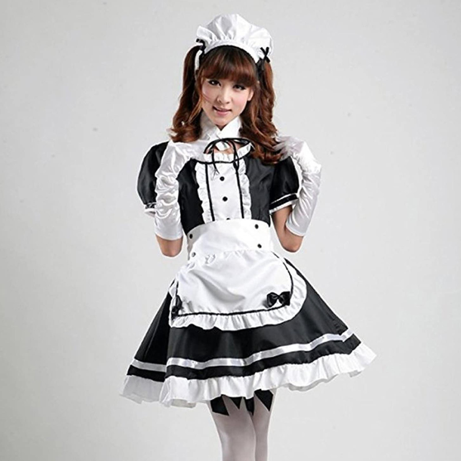 2021 preto bonito lolita maid trajes vestido de empregada francesa meninas mulher amine cosplay traje empregada doméstica festa trajes palco vermelho