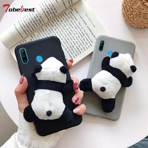3D Cute Plush Toy Panda Case for Huawei Y5 Y6 Y7 2018 Honor 10 9 8 Lite 7C 20 Pro 8X 8C 8A P Smart Z 2019 TPU Silicone Cover(China)