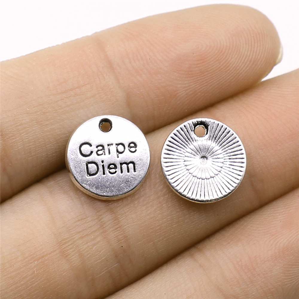 10pcs Antique Silver Color Tone 12x12mm Round Carpe Diem Tag Charms Pendant For Jewelry Making DIY Jewelry Findings