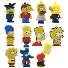 Bart Simpson Mouse Serigala Memory Stick Anime Kartun Simpsons USB Flash Drvie 32GB 16GB 8GB 4GB flashdisk Pen Drive 64GB U Stick(China)
