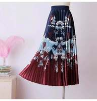 high waisted pleated skirt women solid color ruffle skirt Elastic Waist Print Maxi Dress Medium