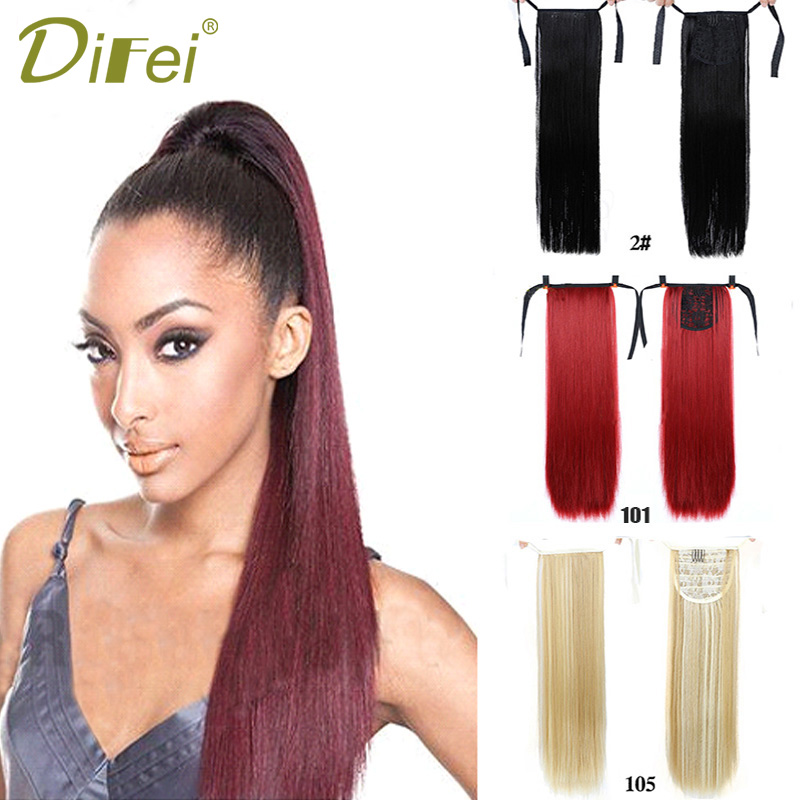 DIFEI Hair 22'' Long Straight Ponytail High Temperature Fiber Synthetic Drawstring Ponytail Daily Wear Red Black Brown Blonde