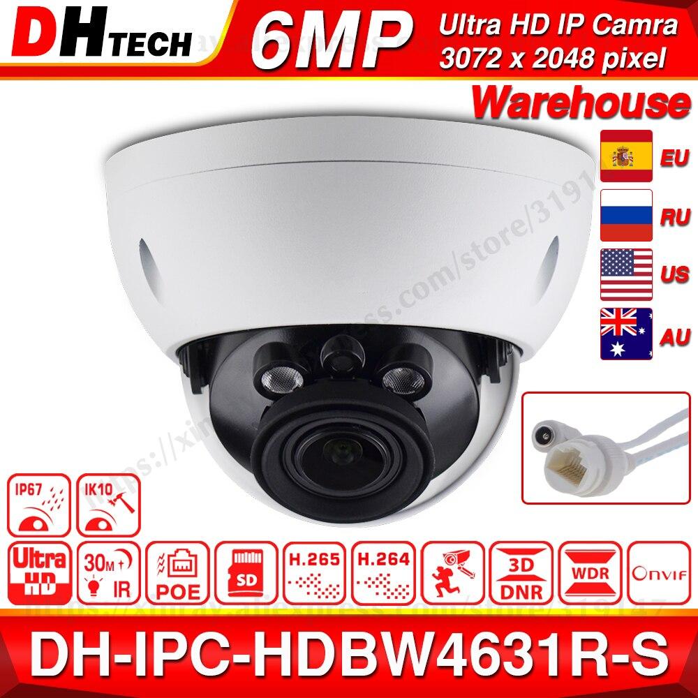 Dahua IPC-HDBW4631R-S 6MP POE IP Camera Support 30M IR IK10 IP67 POE H.265 SD Card Slot WDR Upgrade From IPC-HDBW4431R-S