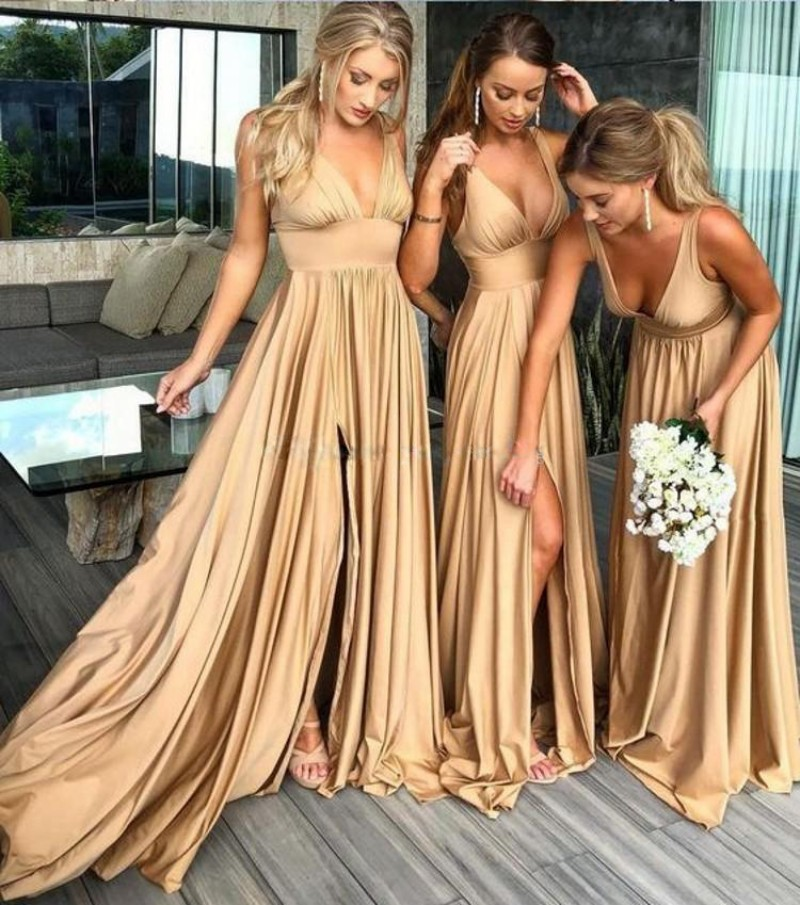 Spring Summer 2021 Bridesmaid Dresses Women Long Sexy Elegant High Split Backless Turquoise Wedding Guest Party Gown YSAN893