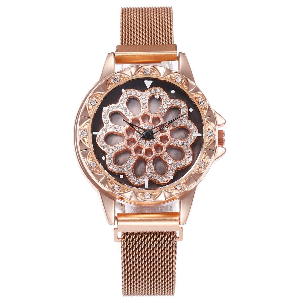 Montre à bracelet aimanté et à cadran tournant  or rose 2