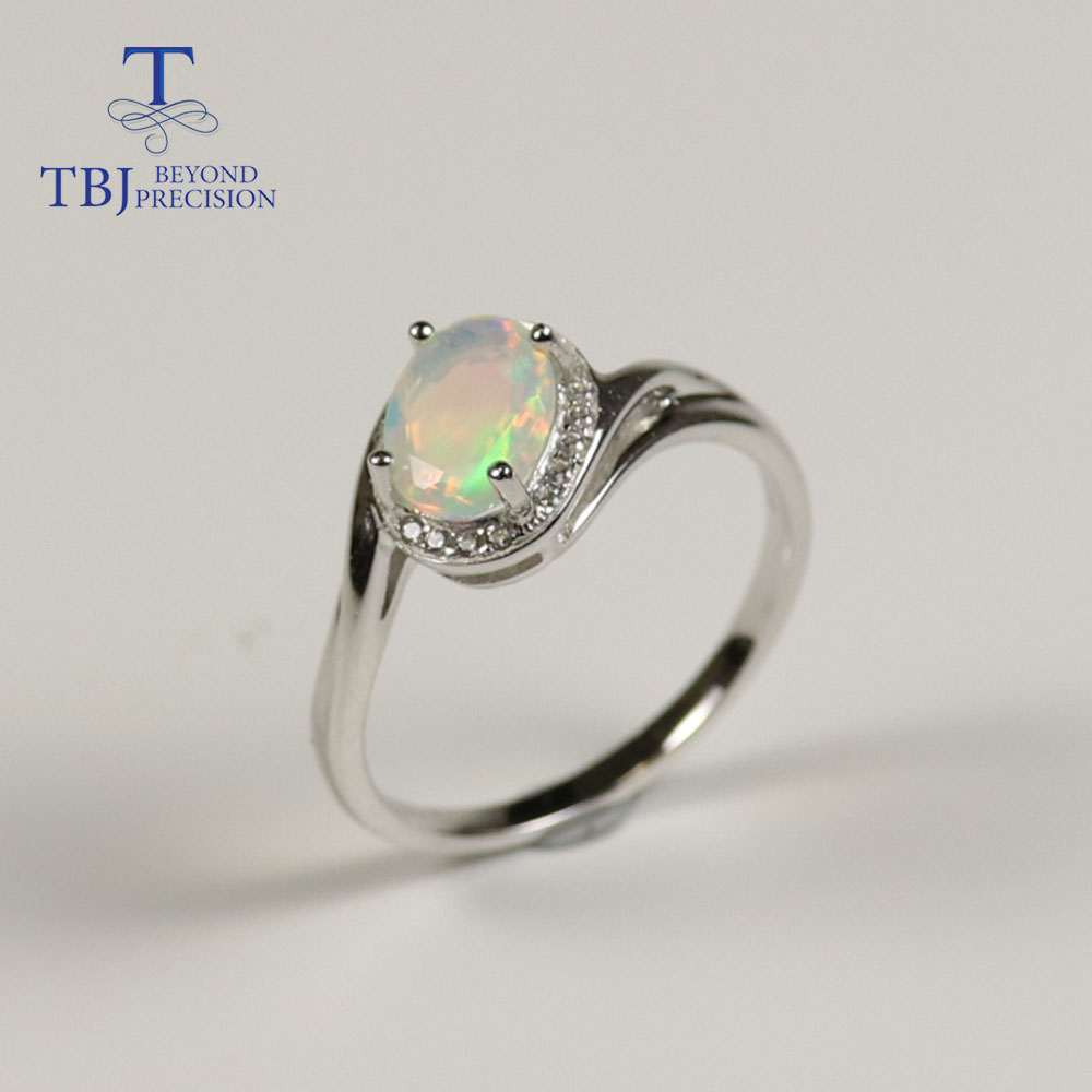 Opal Ring Natural Gemstone Oval 6*8mm With 925 Sterling Silver Simple Design Fine Jewelry For Women Wedding Wear Nice Gift TBJ