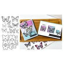 Borboleta do vintage corte dados & selos scrapbook dariy decoração estêncil modelo de gravação diy cartão artesanal 2021