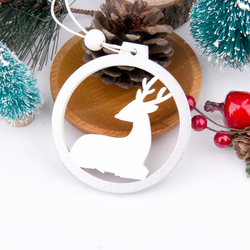 3PCS/lot Creative White Deer/Snowflake Wooden Pendants Christmas Tree Ornaments Decorations Xmas Wood Crafts Home Party Supplies 5