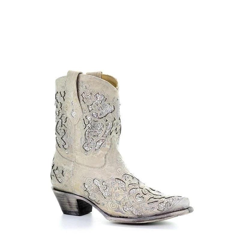 Femininas de Salto Design de Cristal Botas de Festa na Altura do Joelho Botas Baixo Sapatos Femininos Bordados Legal Britânico Curtas Macias Altas