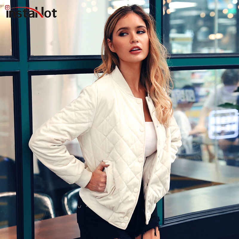 InstaHot Casual Bomer   Basic     Jacket   Baseball   Jacket   Outerwear Autumn Winter Women 2019 Fashion O-neck Top Streetwear Thick Coat