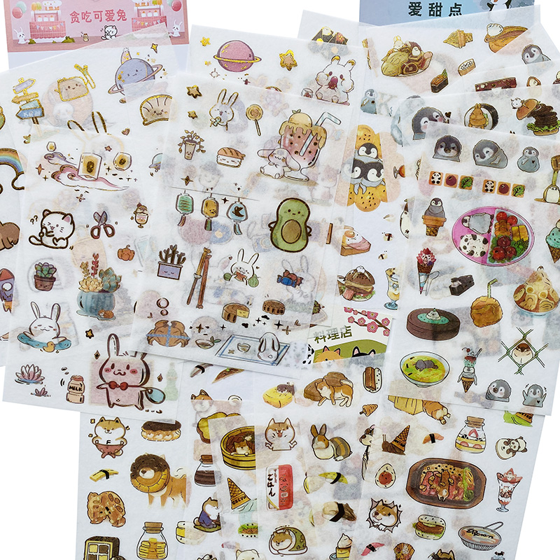 6 Sheets/Pack Cute Food And Animals Rabbit Cat Penguin Dog Gold Foil Paper Sticker Hand Account Decor Stationery Kids Gift