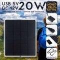 Leory 12 v 20 w portátil painel solar à prova dusb água usb monocristalino solar com carregador de carro para acampamento ao ar livre