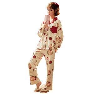 Image 2 - Bộ Pyjama Nữ Quần Áo Bộ Đồ Ngủ Bộ Hình In Dễ Thương Dài Đồ Ngủ Bộ Quần Áo Nữ Thời Trang Đồ Ngủ Mềm Váy Ngủ Phù Hợp Với