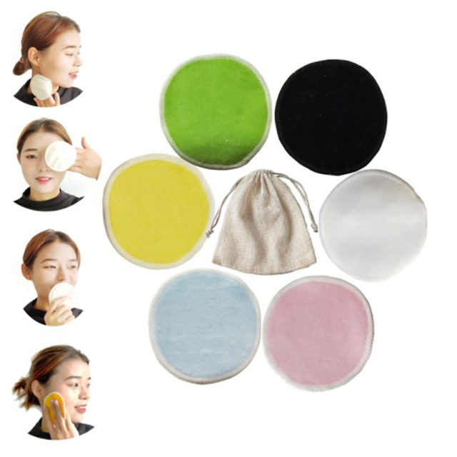 2/5pcs Reusable Bamboo Fiber Makeup Remover Pads  Washable Rounds Cleansing Facial Cotton Make Up Removal Pads Tool 3