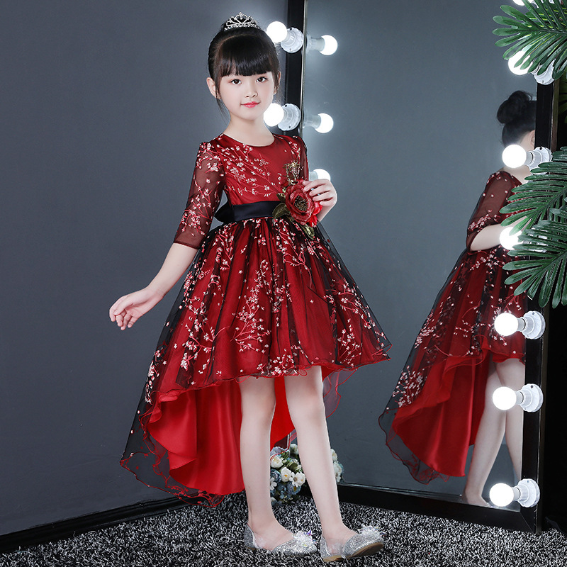 It's YiiYa Flower Girl Dress For Wedding Printing Flower High Low Ball Gown Kids Party Communion Dress Half Sleeve 2019 XF2918