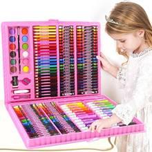 168 pces crianças pintura desenho conjunto de arte com pastéis óleo aquarela marcadores colorido lápis ferramentas para meninos meninas presente