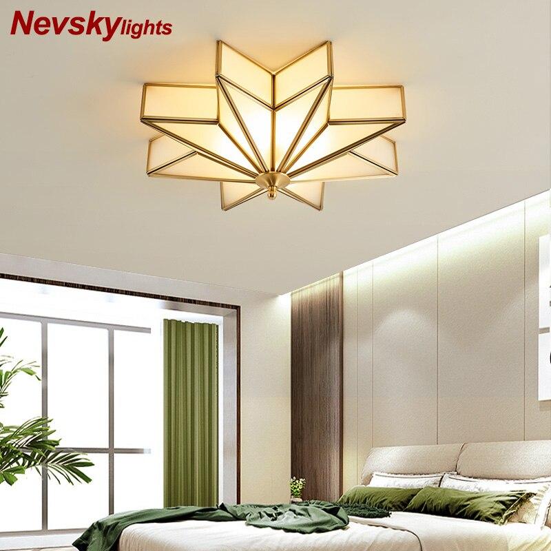 Moderne decke lichter schlafzimmer kupfer beleuchtung wohnzimmer led lampe stern form küche messing decke lampe led glas leuchten esszimmer