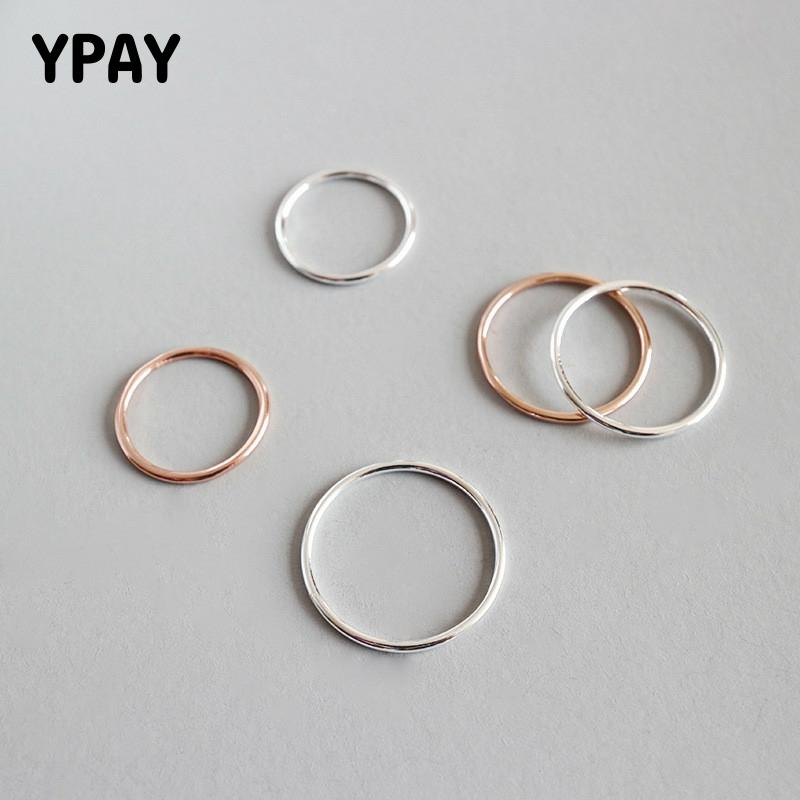 YPAY Trendy 100% Real 925 Sterling Silver Rings Simple Smooth Thin Finger Ring For Women Girls Korean Style Fine Jewelry YMR512