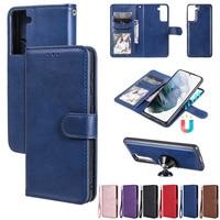 Funda de cuero PU con tapa para Samsung Galaxy S21 Plus Note 20 Ultra A52 A72 A32 4G A42 A12 5G S10 Lite, cubierta magnética desmontable 2 en 1