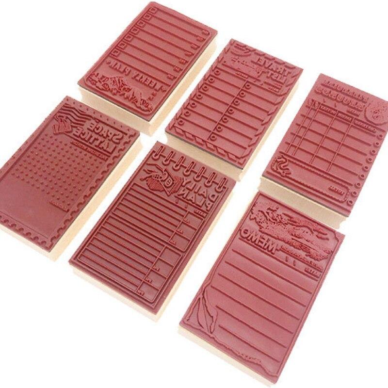 1PCS/set Kawaii Vintage PLAN SCHEDUAL Planner Rubber Stamp DIY Wooden Rubber Stamps For Scrapbooking Standard Stamp
