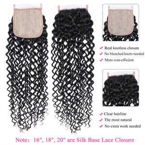 Image 2 - Malaysian Curly Hair Bundles With Closure Pre Plucked Hairline Remy Human Hair Bundles With Closure Julia 3 Bundles With Closure