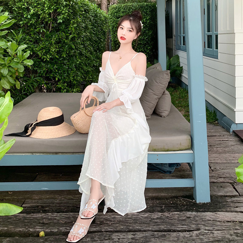 Bali Seaside Holiday Beach Skirt Women's Summer White Immortal Thailand Flounced Strapped Dress Travel Outing Long Skirts