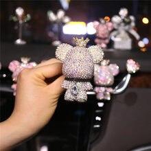 Carro criativo urso bonito high-end diamante-cravejado saída de ar do carro perfume urso carro ar condicionado aromaterapia decoração