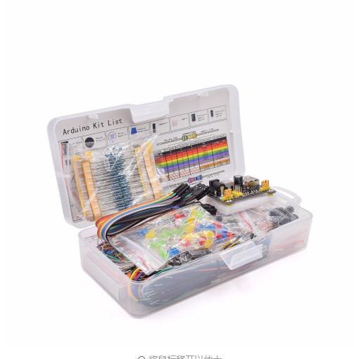 Emballage de boîte de démarreur, composant électronique, Kit de démarreur de base avec 830 points de fixation, platine de prototypage, condensateur, potentiomètre, boîte d'emballage