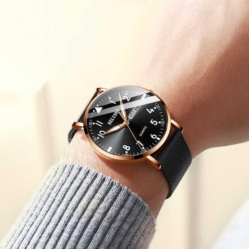 2020 אופנה חדשה שעונים גברים דק למעלה יוקרה מותג מקרית גברים של נירוסטה Mesh רצועת עסקי שעון גברים שעון יד