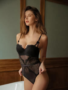 Sexy Lingerie Balconette-Bra Back-Shaper Bodysuit Women Push-Up Bow-Decoration Underwire