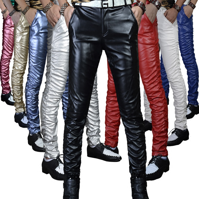 Idopy Quality PU Winter Line Sexy Red Slim Tight Male Leather Pant Men Motorcycle Black Skinny Biker Trouser Leather Jogger Blue