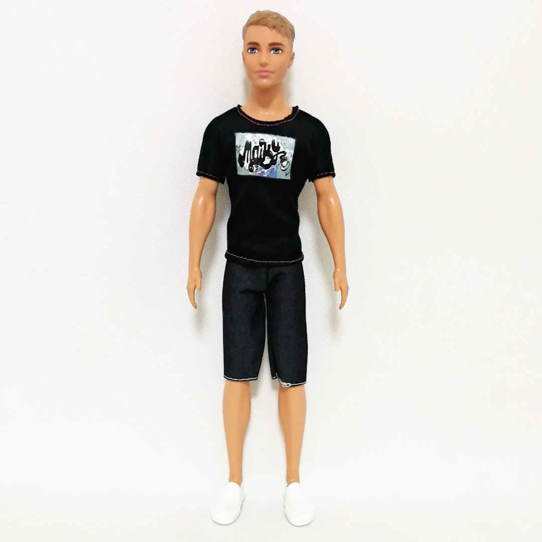 Ken The Boy Friend Black Tee Trousers Set ForBarbie Doll Clothes Accessories Play House Dressing Up Costume Kids Toys Gift