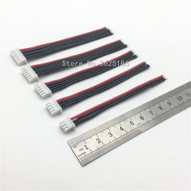 New 5pcs / lot 100mm 2s 3s 4S 5S <font><b>6s</b></font> LiPo battery balance charger connecting cable / cable / connector 22AWG 100mm JST-XH image