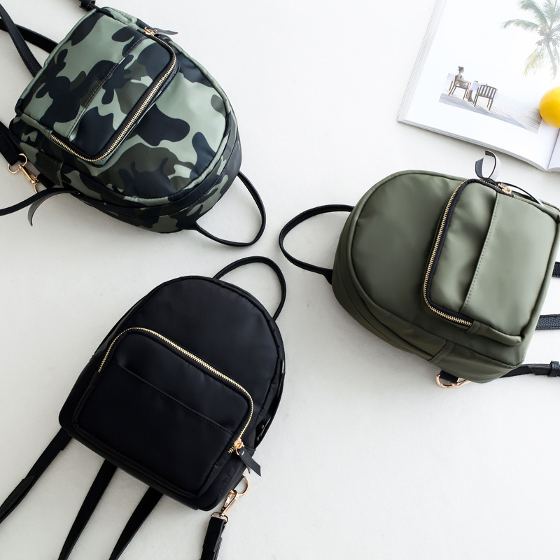 Oxford Women's Small Backpack Zipper Travel Backpack Lattice Mini Casual Backpack Women Camouflage School Bag