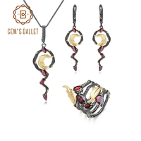 GEM'S BALLET Natural Red Garnet Earrings Pendant Ring Set 925 Sterling Silver Vintage Gothic Jewelry Set For Women Fine Jewelry