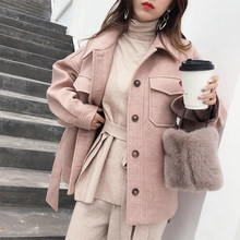 MISHOW 2019 autumn winter sweety woolen coat fashion causal women soild turndown collar with belt thick coat MX18D9526(China)