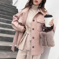 MISHOW 2019 herbst winter sweety woolen mantel mode kausalen frauen soild turndown kragen mit gürtel dicken mantel MX18D9526