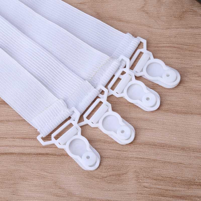 4 Pcs/1 ชุดแผ่นยืดหยุ่น Fasteners ที่นอนผ้าห่ม Grippers คลิป
