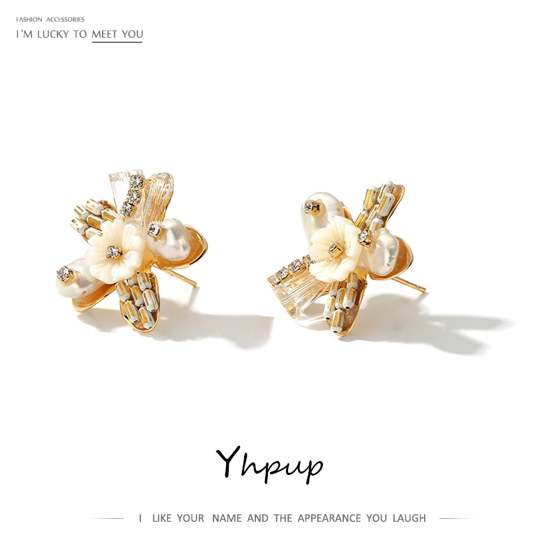 Yhpup Exquisite Natural Pearls Flower Stud Earrings Beauty Shell Plant Earrings Brincos For Female Party Jewelry Gift S925 Post