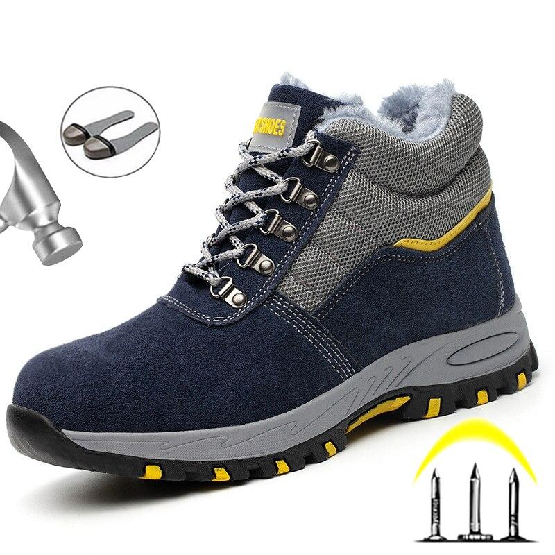 2020 зимние ботинки, безопасная обувь, водонепроницаемые рабочие ботинки, мужские ботинки со стальным носком, Теплые ботильоны, мужская обувь, Рабочая обувь с защитой от проколов, 46|Защитная обувь| | АлиЭкспресс