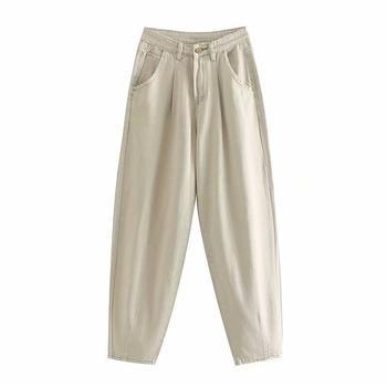 catonATOZ 2248 Khaki Female Cargo Pants High Waist Harem Loose Jeans Plus Size Trousers Woman Casual Streetwear Mom Jeans 10