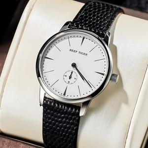 Image 1 - リーフ虎/rtカジュアルカップル腕時計シンプルなスタイルクォーツ腕時計女性のための超薄型ステンレスダイヤルRGA820