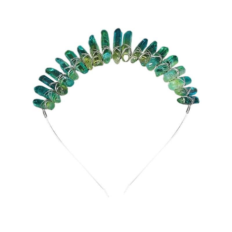 Cerceau de cheveux en Faux cristal fait main grattage bandeau de Quartz Imitation jaune vert 35EF