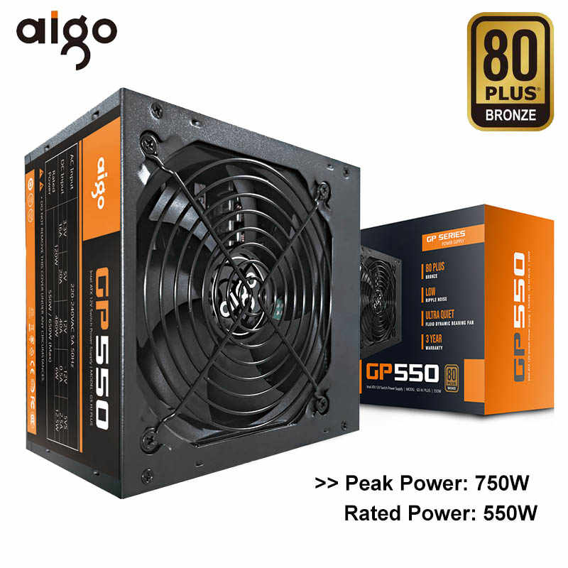 Aigo GP550 Desktop Power Supply 750W 80 Plus Bronze Tenang Power 12V ATX Aktif Power Supply Komputer Pendingin fan untuk Intel AMD PC