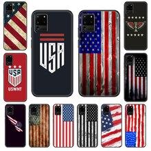 América eua bandeira caso de telefone para samsung galaxy s 3 4 5 6 7 8 9 10 e plus lite borda tpu preto escudo macio hoesjes silicone